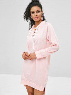 Lace-up Shift Slit Sweatshirt Dress - Sakura Pink M