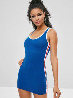 Contrast Short Fitted Tank Dress - Ocean Blue Xl