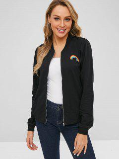 Zip Up Rainbow Embroidered Jacket - Black L