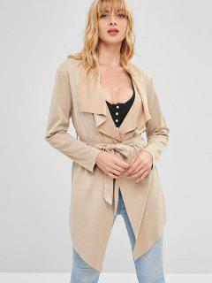 Open Raw Hem Tunic Coat With Belt - Light Khaki S