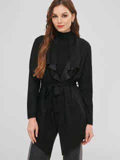 Open Raw Hem Tunic Coat With Belt - Black Xl