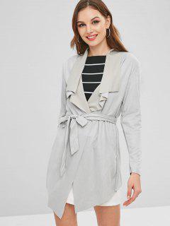 Open Raw Hem Tunic Coat With Belt - Gray Goose Xl