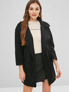 Open Front Plain Coat - Black