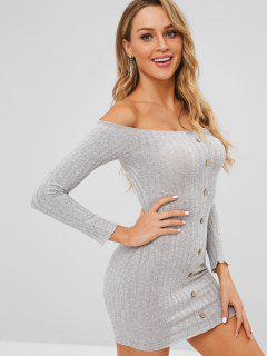 Off The Shoulder Buttoned Bodycon Dress - Gray L