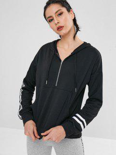 Half Zip Striped Front Pocket Hoodie - Black L