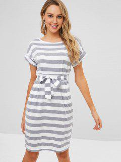 Front Pocket Short Sleeve Stripe Dress - Gray L