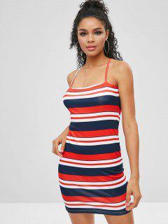 Striped Bodycon Short Cami Dress - Multi-a Xl