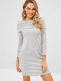 Off Shoulder Foldover Long Sleeve Dress - Gray 2xl