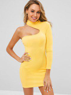 One Shoulder Bodycon Dress - Yellow M