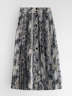 Pleated Snake Pattern Skirt - Multi L