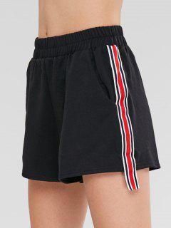 Striped Trim Pocket Shorts - Black Xl