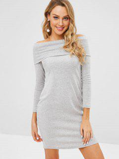 Off Shoulder Foldover Long Sleeve Dress - Gray M