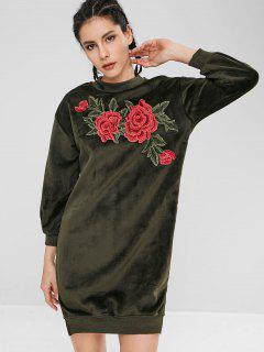 Flower Embroidered Velvet Sweatshirt Dress - Army Green S