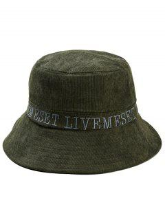Capital Letter Embroidery Bucket Sun Hat - Army Green