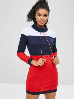 Turtleneck Color Block Short Dress - Deep Blue M