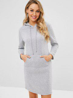 Fitted Front Pocket Hoodie Dress - Gray M