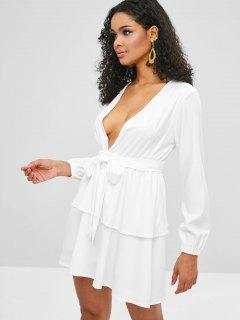 Plunging Belted Tiered Dress - White L