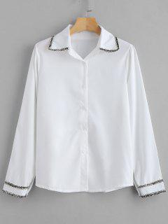 Embellished Button Up Plain Shirt - Milk White Xl