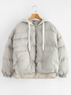Pockets Hooded Puffer Jacket - Gray