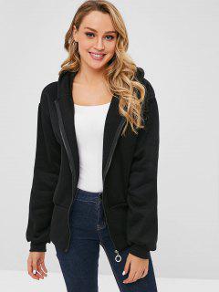 Manteau à Capuche Zippé à Doublure En Laine - Noir Xl
