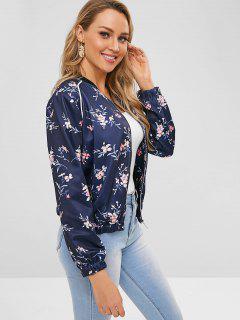 Flower Zipper Jacket - Blueberry Blue S