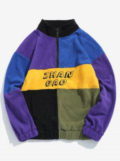 ZAFUL Color Block Half Zip Pullover Sudadera Con Flocado - Multicolor-a 2xl