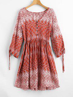 Plunge Zigzag Print Peasant Dress - Red L