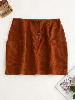 Pockets Buttoned Corduroy Skirt - Caramel L