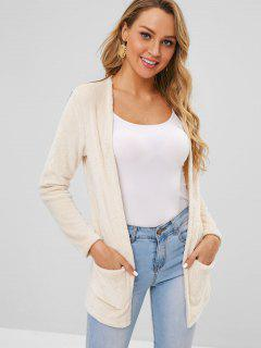 Front Pockets Fluffy Coat - Blanched Almond L
