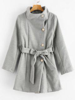 Belted Wrap Collar Faux Wool Winter Coat - Gray Cloud S