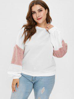 Plus Size Fuzzy Sleeve Hit Color Fleece Sweatshirt - White 3x