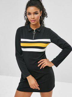 Striped Zipper Bodycon Mini Dress - Black S