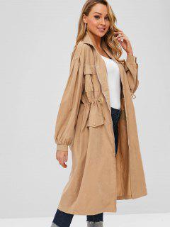 Pocket Drawstring Waist Trench Coat - Camel Brown Xl