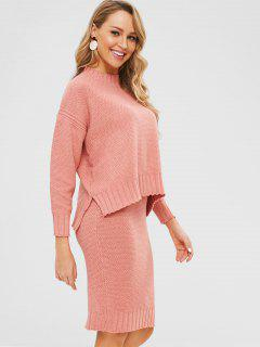 Boxy Sweater Und Midi Rock Co Ord Set - Orange Rosa