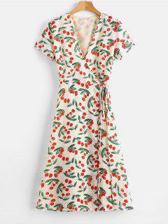 A Line Cherry Print Wrap Dress - Multi Xl