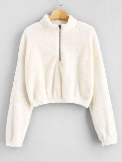 Zipped Fleece Cropped Sweatshirt - White S