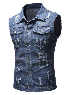 Solid Sleeveless Ripped Washed Denim Vest - Deep Blue M