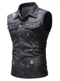 Solid Sleeveless Ripped Washed Denim Vest - Black S