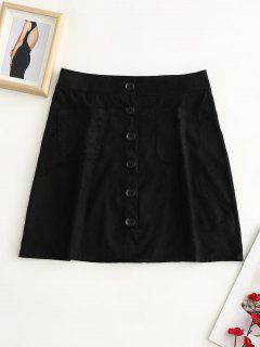 Button Up Pockets Faux Suede Skirt - Black M