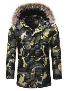 Faux Fur Hooded Camo Puffer Jacket - Camouflage Green L