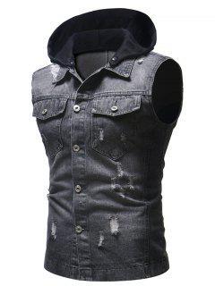 Hood Patchwork Sleeveless Ripped Washed Denim Vest - Black M
