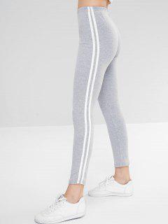Side Striped Skinny Leggings - Gray Cloud