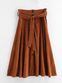 Button Up Belted Corduroy Skirt - Camel Brown L