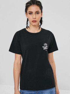 Camiseta Rosa De Manga Corta - Negro L