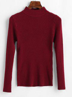 Slim Ribbed Knitted Sweater - Firebrick