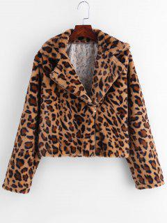Asymmetric Zipper Leopard Fluffy Coat - Leopard M