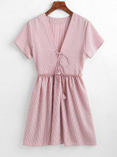 Lace-up Striped Smock Dress - Khaki Rose Xl