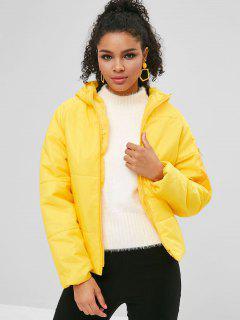 Hooded Padded Raglan Sleeve Jacket - Corn Yellow 2xl