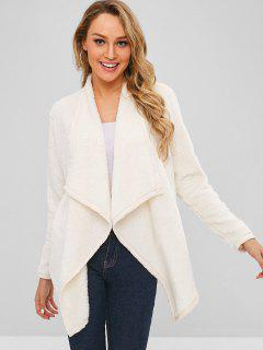Open Front Shearling Fluffy Coat - Cool White S