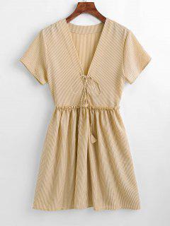 Lace-up Striped Smock Dress - Apricot S